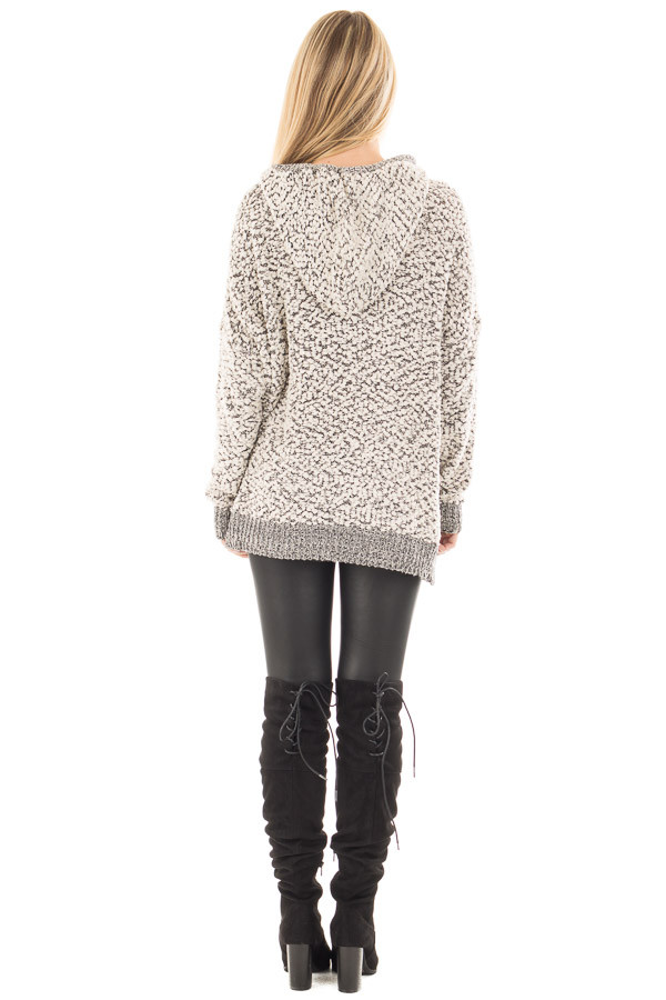 Black and Ivory Two Tone Soft Knit Hoodie back full body