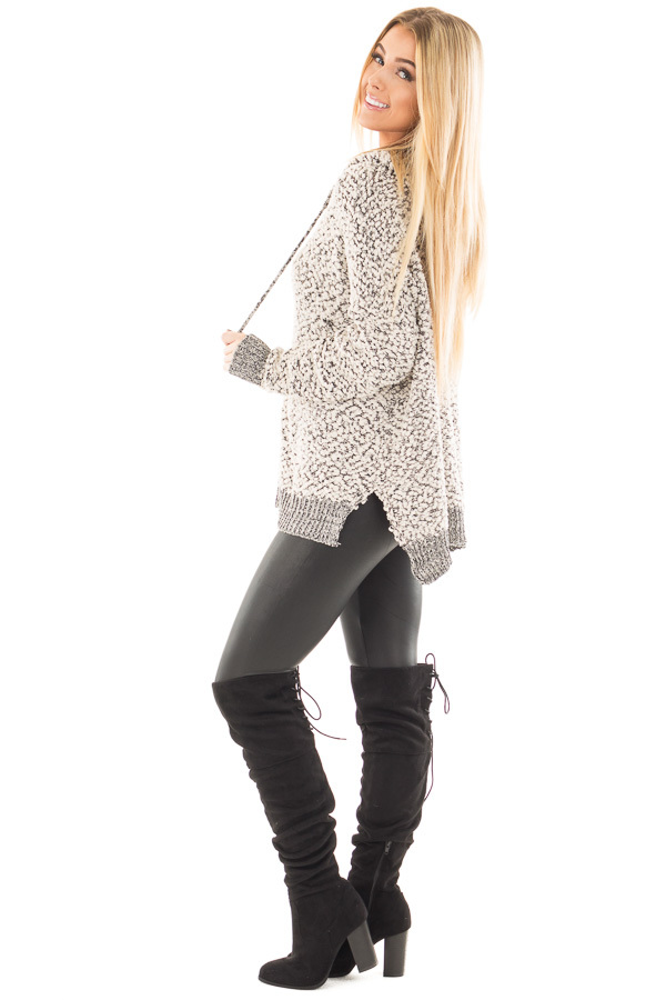 Black and Ivory Two Tone Soft Knit Hoodie side full body