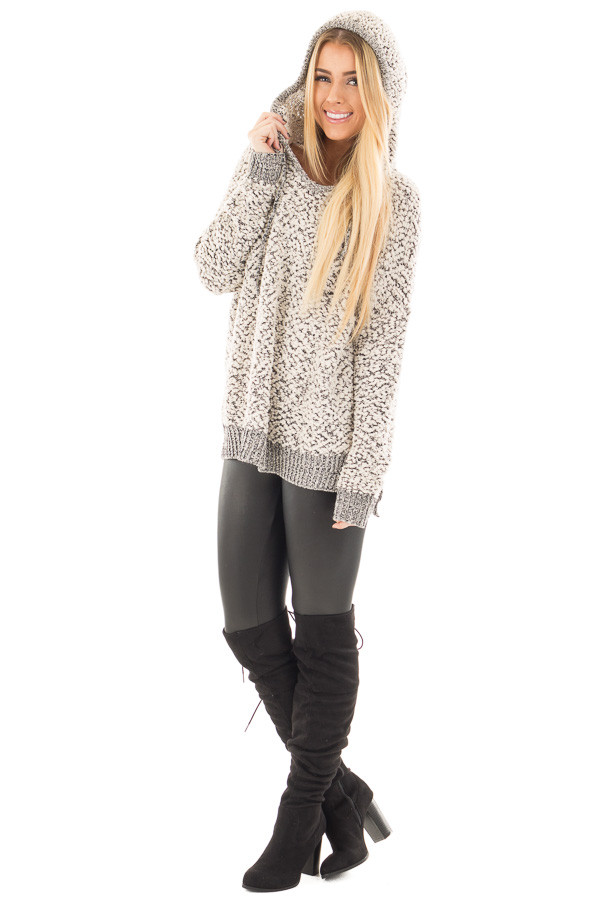 Black and Ivory Two Tone Soft Knit Hoodie front full body