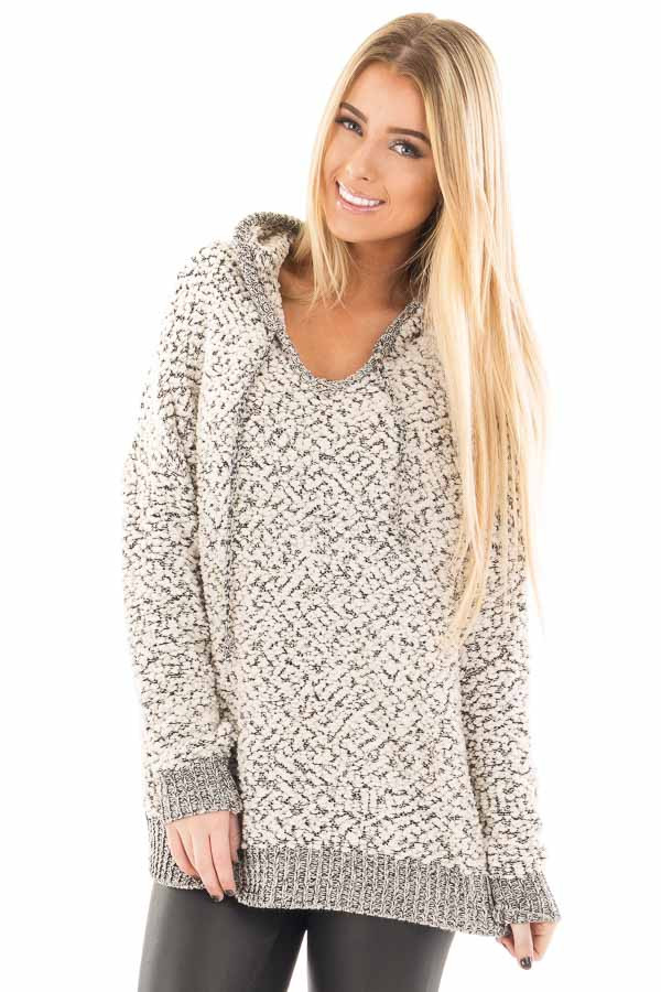 Black and Ivory Two Tone Soft Knit Hoodie front close up
