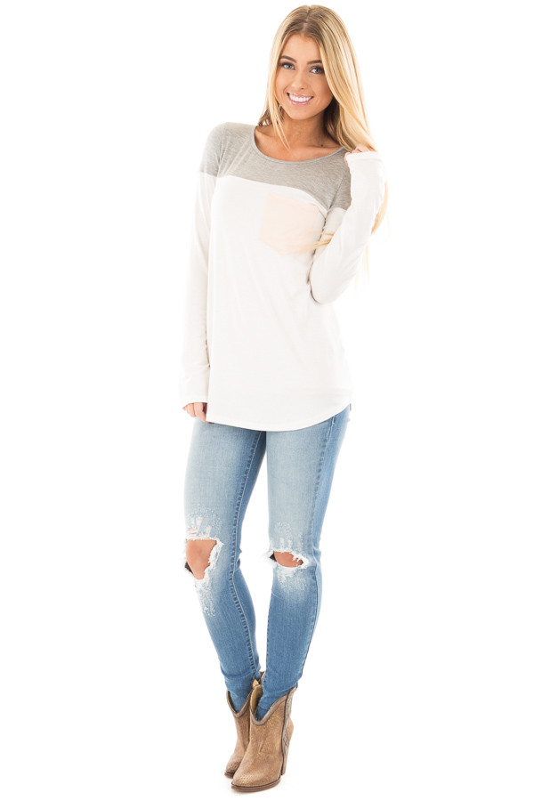 Medium Wash Skinny Jeans with Shredded Knee Detail front full body