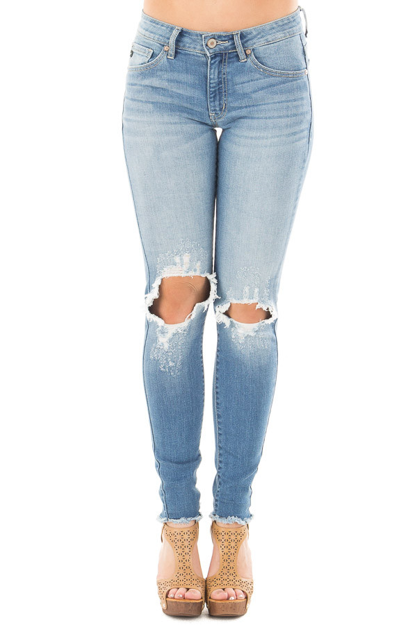 Medium Wash Skinny Jeans with Shredded Knee Detail front view