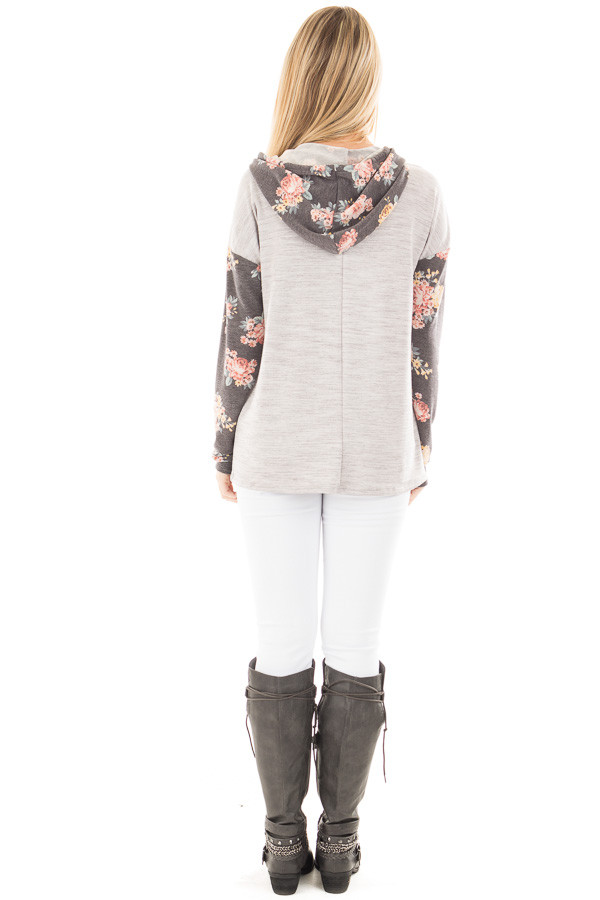 Heather Grey Hoodie Top with Charcoal Floral Contrast back full body