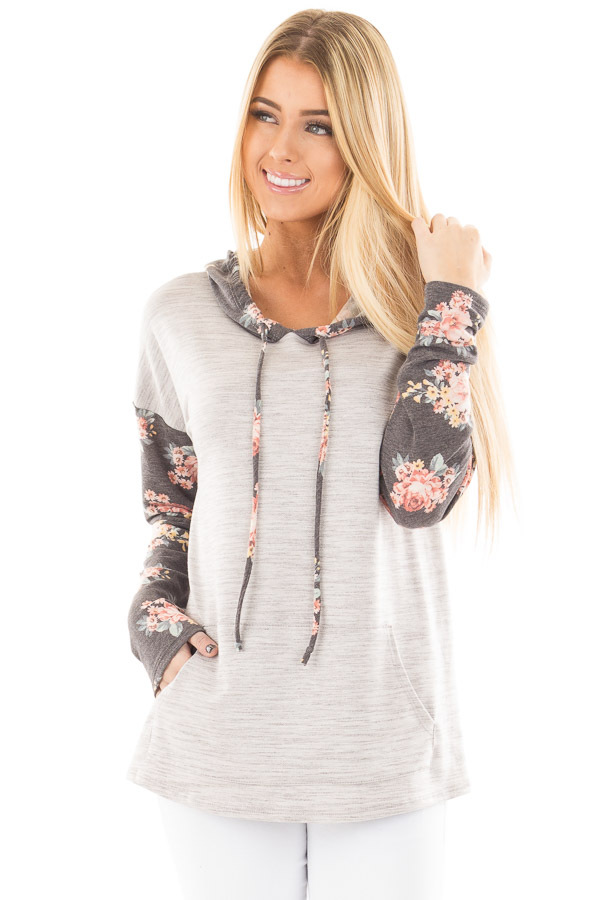 Heather Grey Hoodie Top with Charcoal Floral Contrast front close up