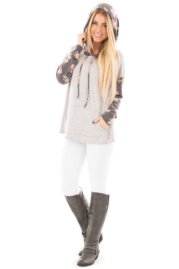 Heather Grey Hoodie Top with Charcoal Floral Contrast front full body
