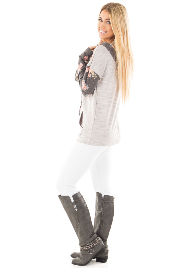 Heather Grey Hoodie Top with Charcoal Floral Contrast side full body