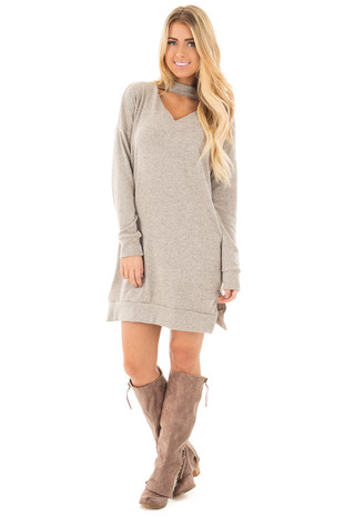 Taupe Two Tone Knit Tunic Dress with Keyhole Mock Neck front full body