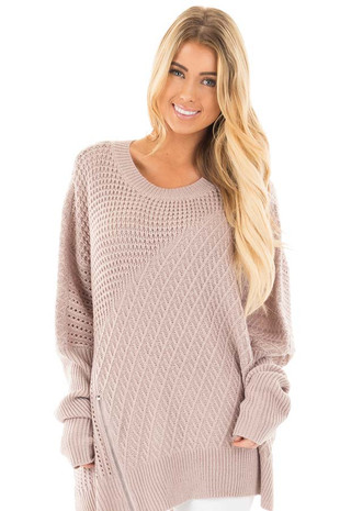 Misty Pink Textured Sweater with Side Zipper Detail front close up