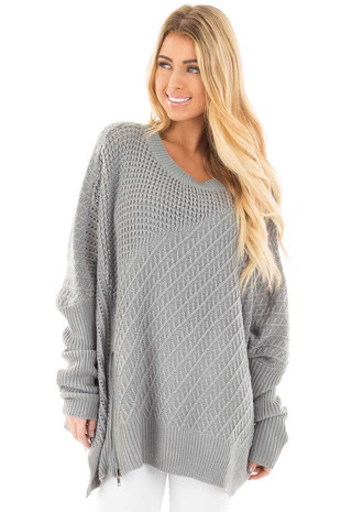 Slate Blue Textured Sweater with Side Zipper Detail front close up