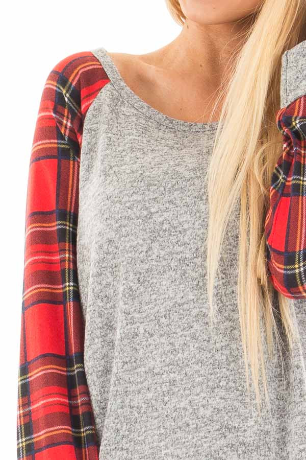 Heather Grey Raglan Sweater with Red Plaid Sleeves detail