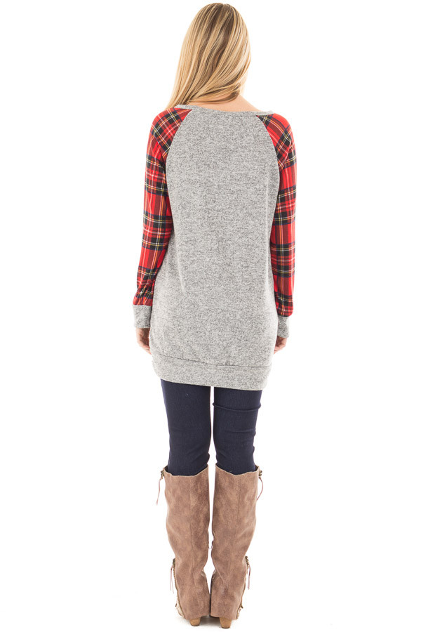 Heather Grey Raglan Sweater with Red Plaid Sleeves back full body