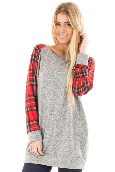 Heather Grey Raglan Sweater with Red Plaid Sleeves front close up