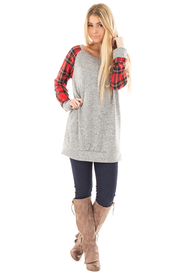 Heather Grey Raglan Sweater with Red Plaid Sleeves front full body