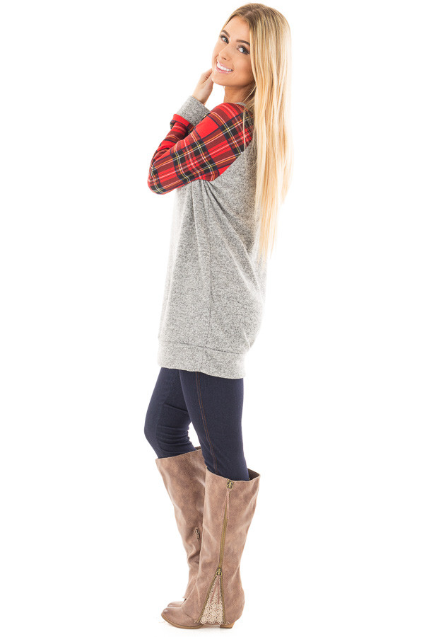 Heather Grey Raglan Sweater with Red Plaid Sleeves side full body