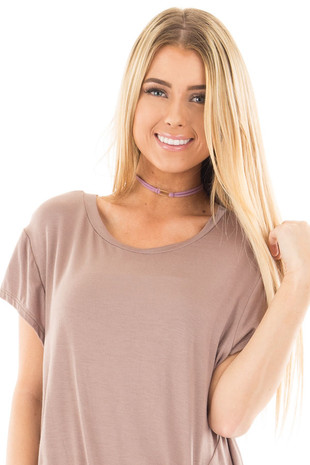 Lavender Faux Suede Choker Necklace with Gold Rectangle Detail