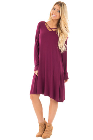 Burgundy Tunic Dress with Criss Cross Neckline front close up