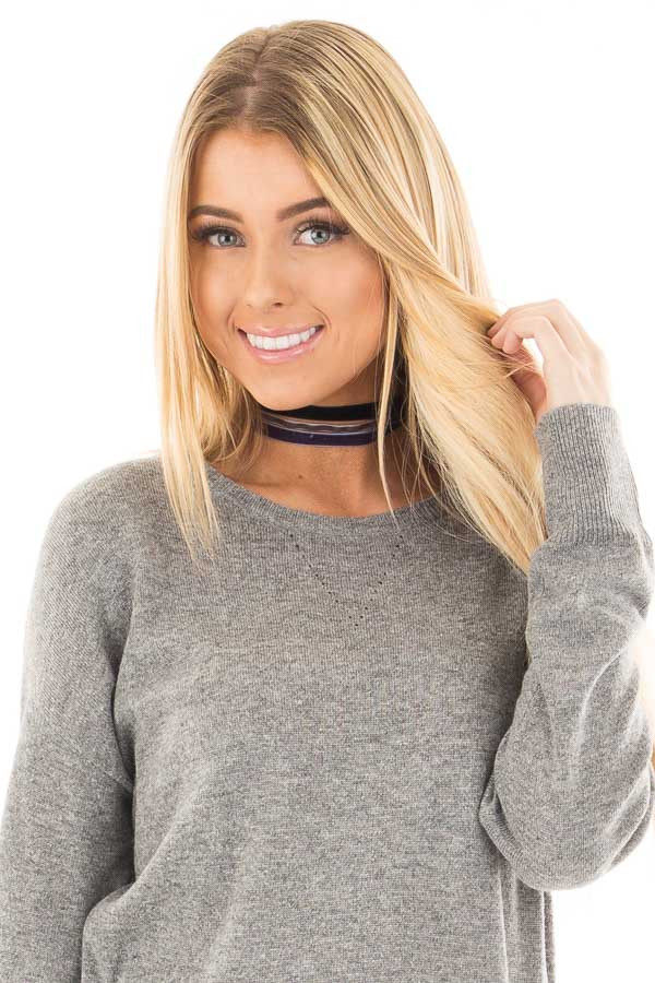 Stone Navy and Black Set of Three Velvet Choker Necklaces