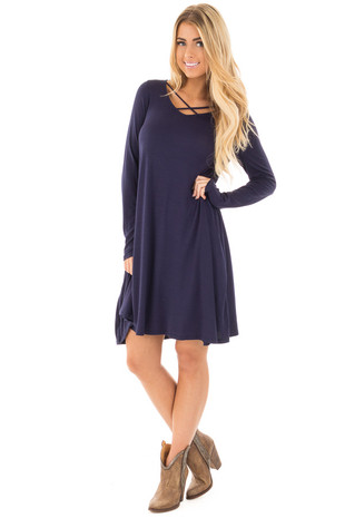 Navy Tunic Dress with Criss Cross Neckline front full body
