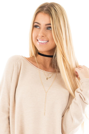 Black Choker with Layered Gold Necklaces Set of Four