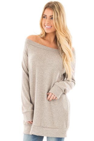 Taupe Two Toned Off the Shoulder Soft Knit Tunic front close up