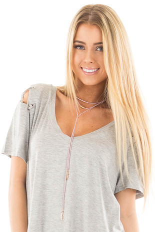 Mauve Faux Suede Layered Necklace with Gold Details