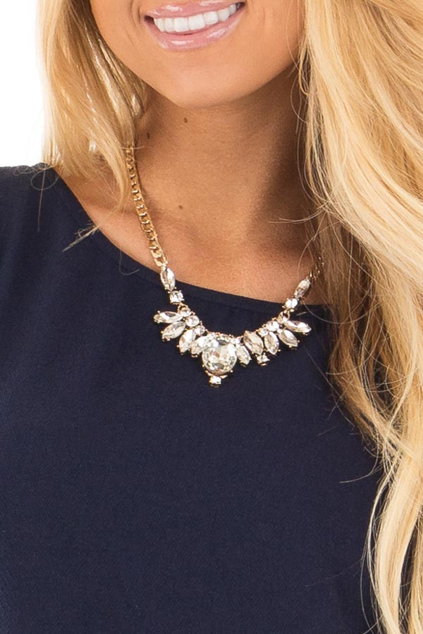 Gold Dazzling Crystal Statement Necklace