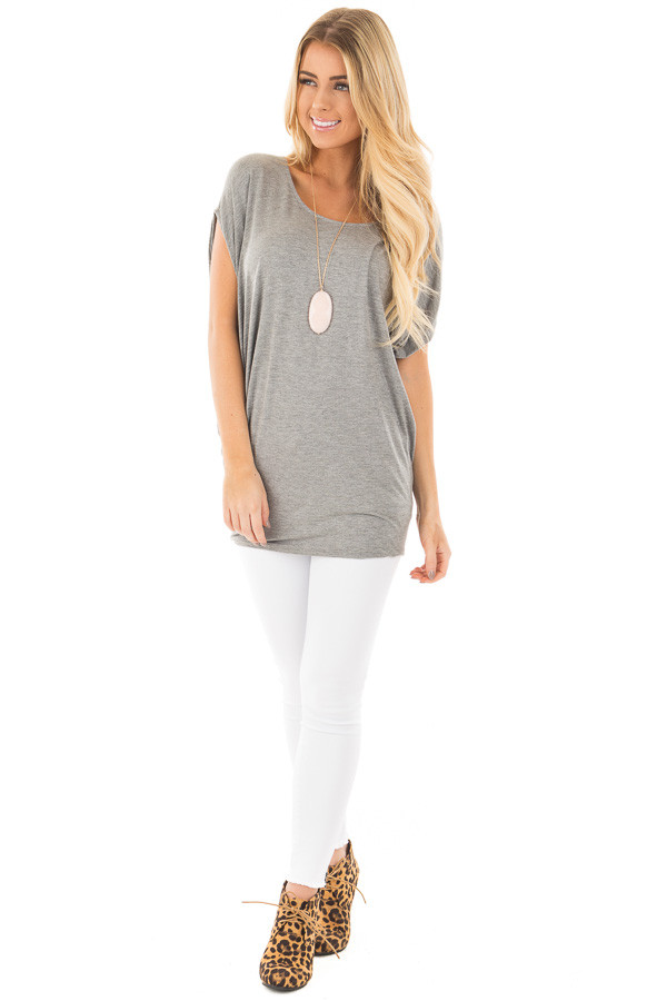 Heather Grey Short Sleeve Dolman Top front full body