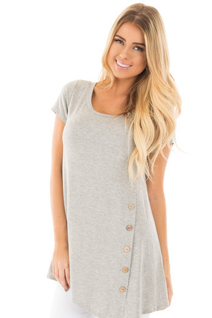 Stone Grey Cap Sleeve Button Trim Top with Asymmetrical Hem front close up
