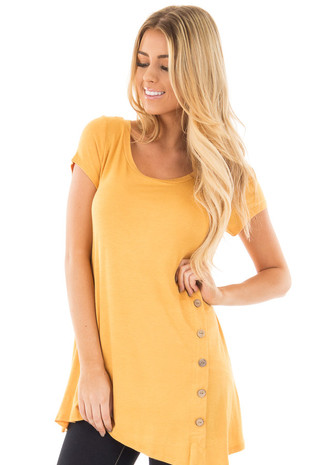 Sunflower Cap Sleeve Button Trim Top with Asymmetrical Hem front close up