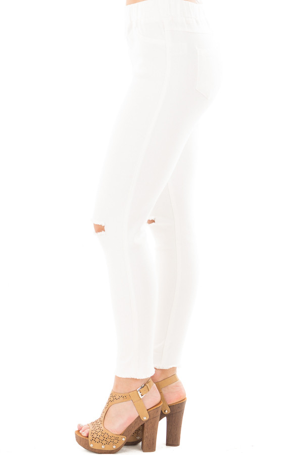 Cream High Waist Knee-Cut Jeggings side left leg