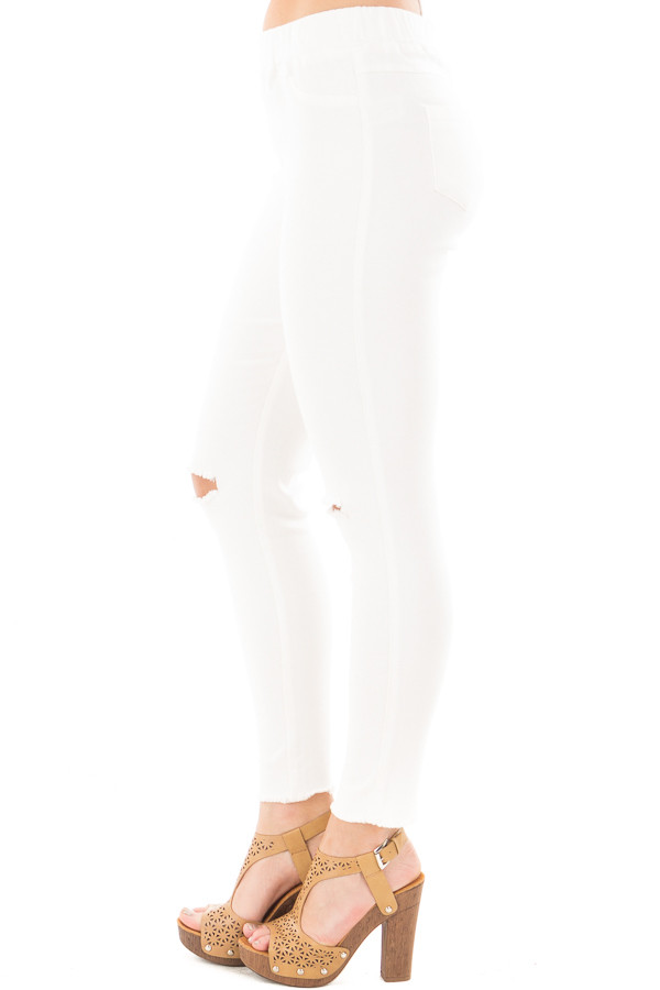 Cream High Waist Knee-Cut Jeggings side right leg