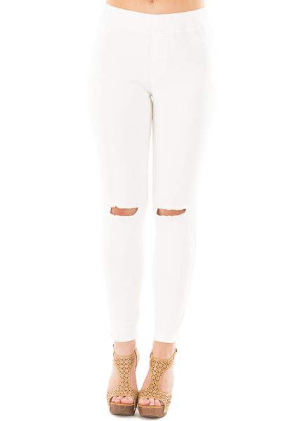 Cream High Waist Knee-Cut Jeggings front view