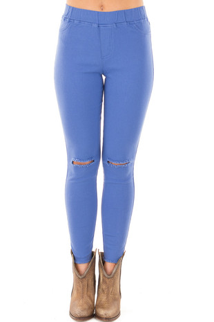 Cobalt Blue High Waist Knee-Cut Jeggings front view