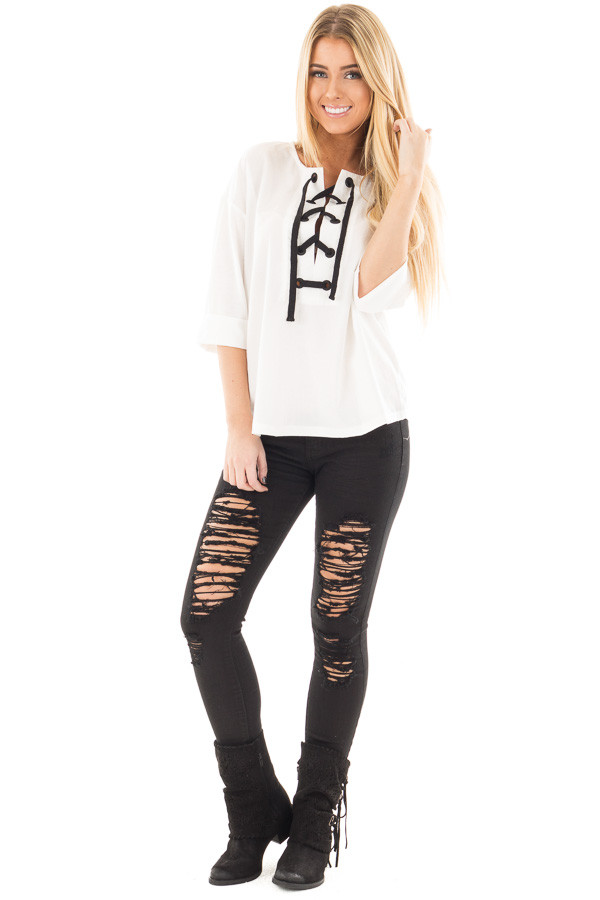 Ivory with Black Thick Lace Up Top front full body