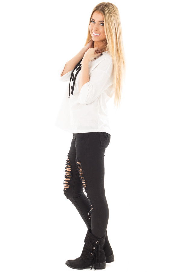 Ivory with Black Thick Lace Up Top side full body