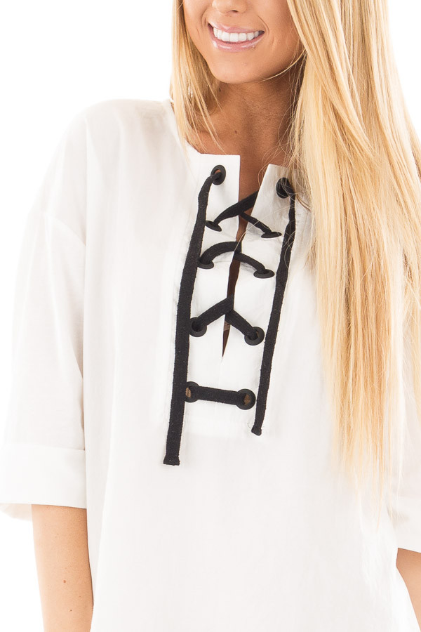 Ivory with Black Thick Lace Up Top detail