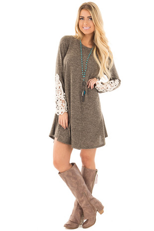 Mocha Two Tone Tunic Dress with Cream Crochet Detail front full body