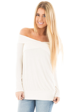 Ivory Ribbed Off the Shoulder with Fold Over Neckline Top front close up