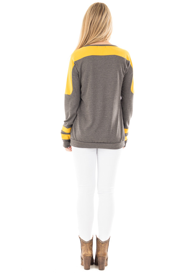 Charcoal and Mustard Athletic Style Sweater back full body