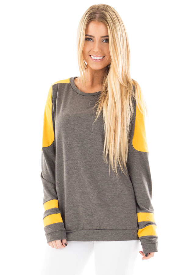 Charcoal and Mustard Athletic Style Sweater front close up