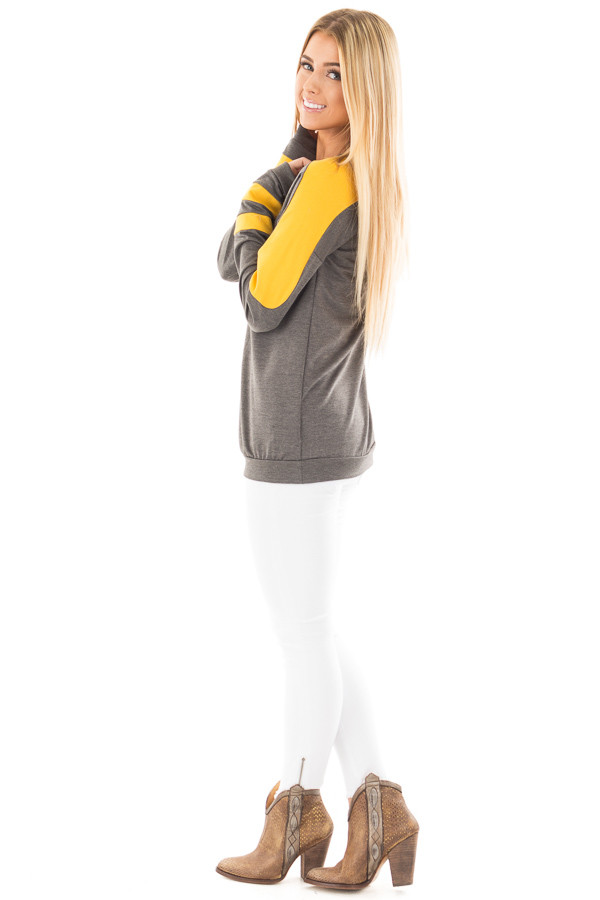 Charcoal and Mustard Athletic Style Sweater side full body