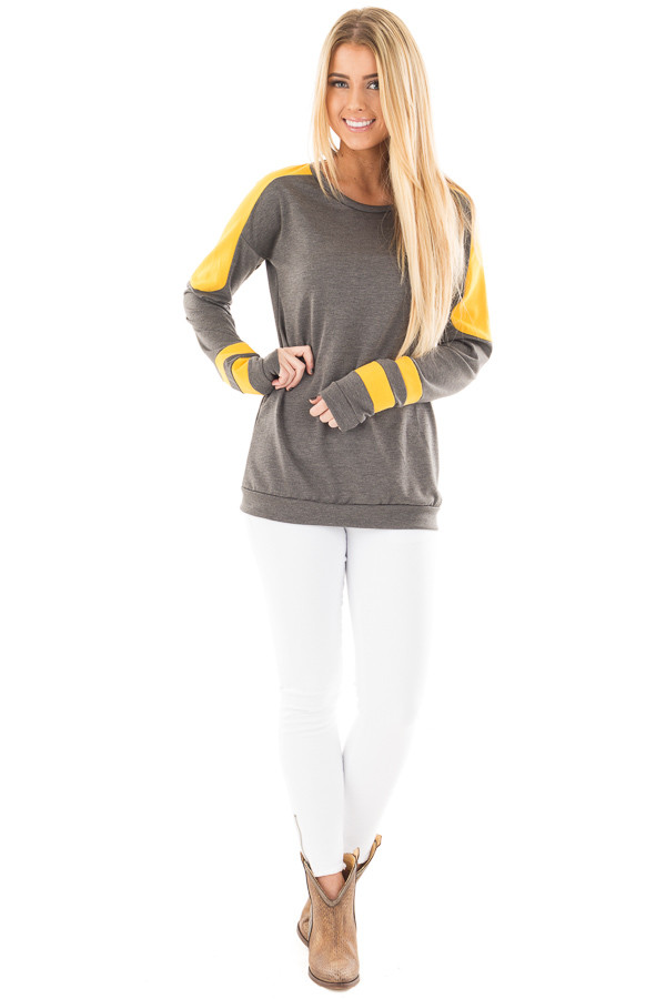 Charcoal and Mustard Athletic Style Sweater front full body