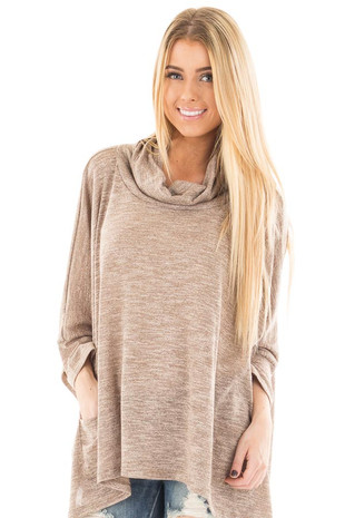 Mocha Two Tone Cowl Neck Top with Pockets front close up