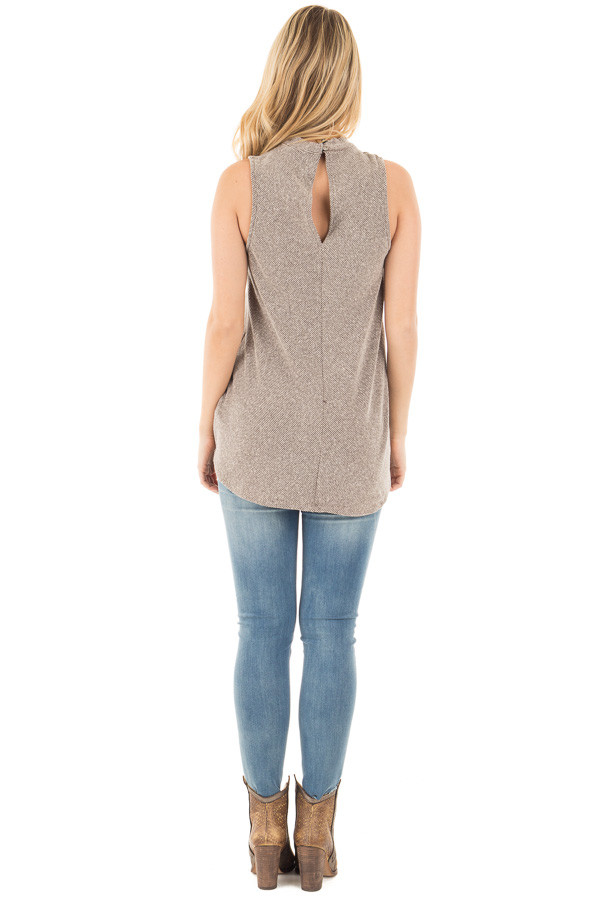 Mocha Ribbed Knit Sleeveless Top with Crossover V Neck Detail back full body