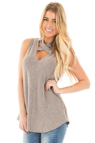 Mocha Ribbed Knit Sleeveless Top with Crossover V Neck Detail front close up