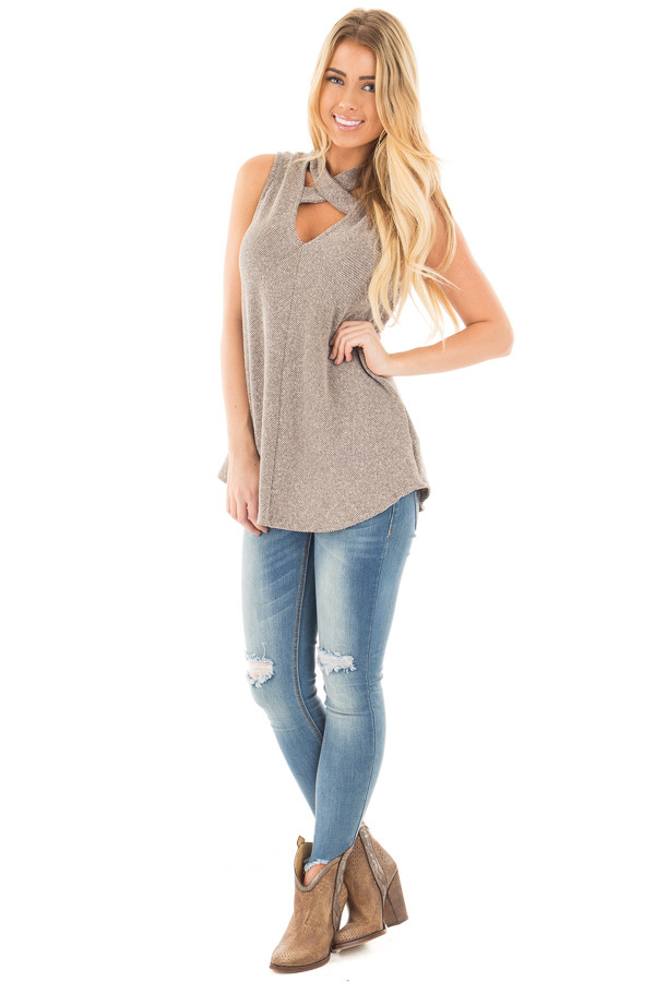 Mocha Ribbed Knit Sleeveless Top with Crossover V Neck Detail front full body