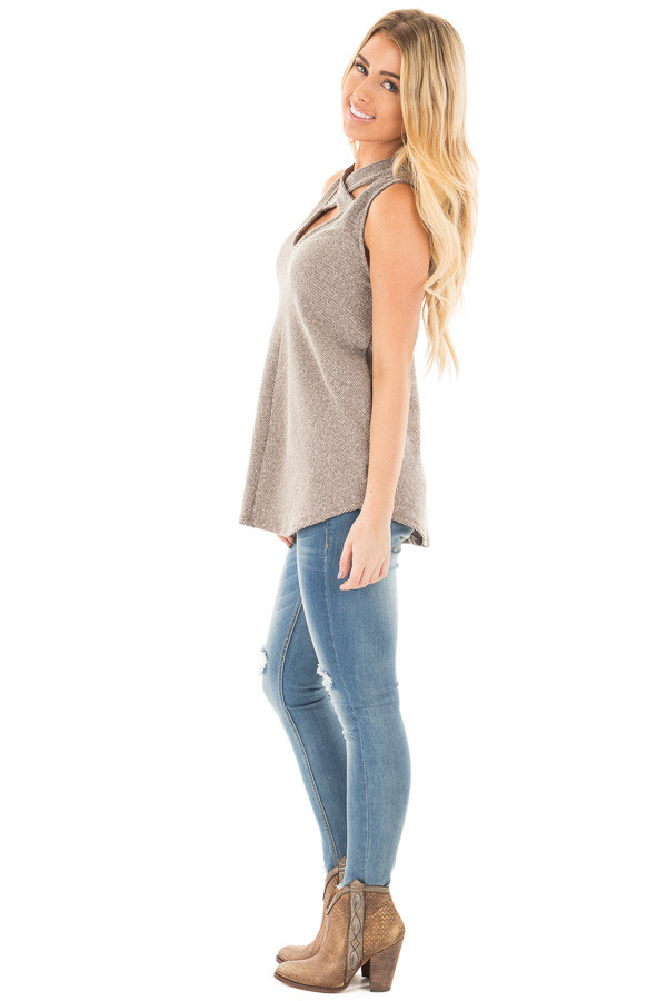 Mocha Ribbed Knit Sleeveless Top with Crossover V Neck Detail side full body