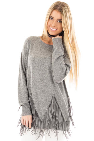 Heather Grey Knit Sweater with Fringe Detailed Hem front close up