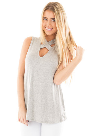 Heather Grey Sleeveless Top with Crossover V Neck Detail front close up