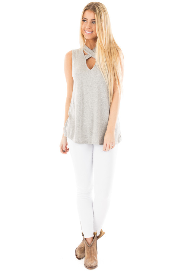 Heather Grey Sleeveless Top with Crossover V Neck Detail front full body
